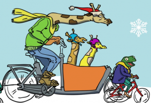 Even giraffes love cargo bikes (image courtesy of Curbside Cycles in Toronto).